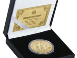 Bitcoin met 24 kt goud verguld in muntcassette + certificaat