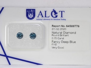 2 pcs Briljant diamants - fany deep blue - 0.75ct - met certificaat.