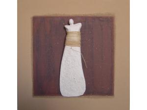 gecombineerd werk (keramiek/acryl/touw op plaat) - Linda Bouter