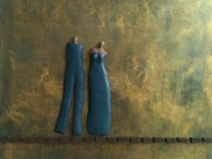 gecombineerd werk (keramiek/acryl) op plaat - Linda Bouter