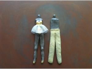 gecombineerd werk (keramiek/acrylgaas) op plaat - Linda Bouter
