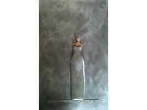 gecombineerd werk (keramiek/acryl/lood) op plaat - Linda Bouter