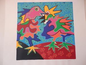 "Marianne Naerebout; gesigneerde kleurenlitho, ""Flower Power"""